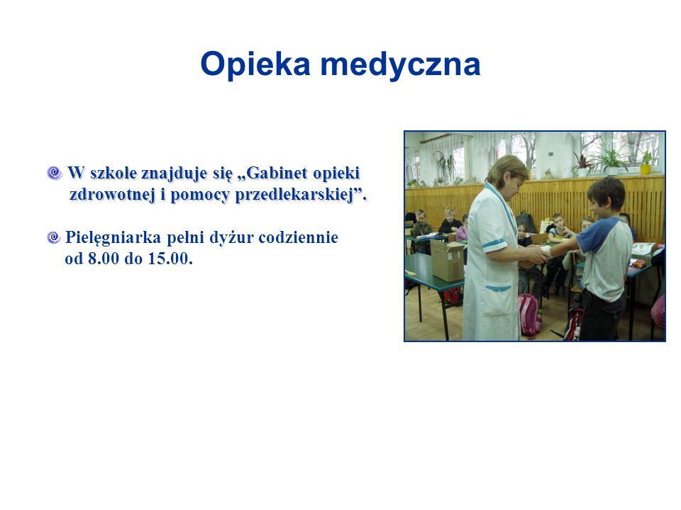 Opieka medyczna W szkole znajduje się Gabinet opieki zdrowotnej i pomocy przedlekarskiej. W szkole znajduje się Gabinet opieki zdrowotnej i pomocy prz