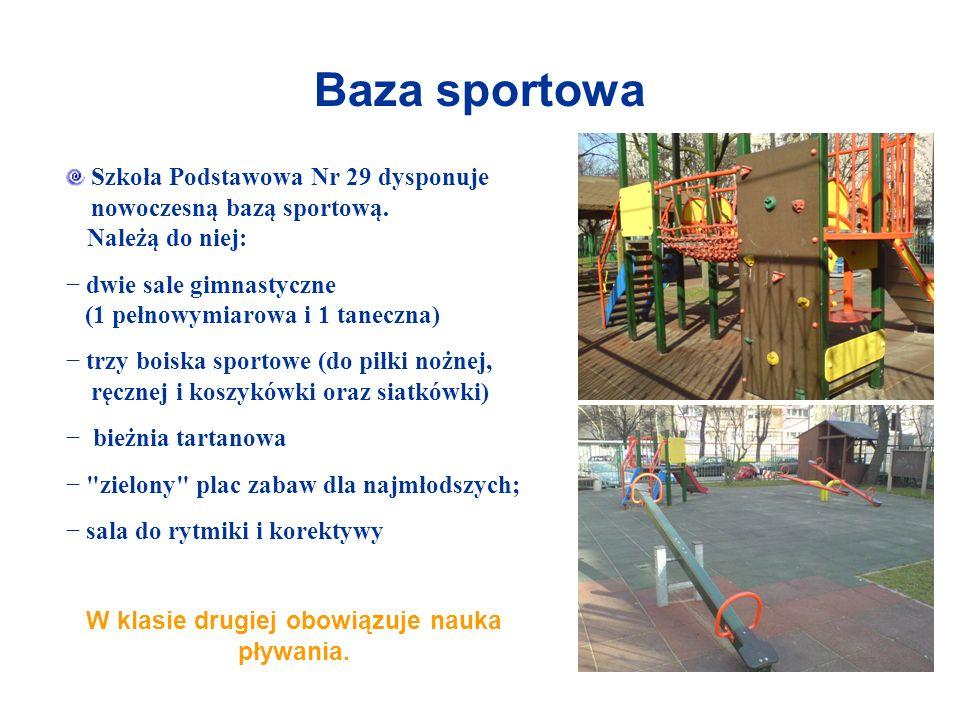 Baza sportowa Szkoła Podstawowa Nr 29 dysponuje nowoczesną bazą sportową. Należą do niej: dwie sale gimnastyczne (1 pełnowymiarowa i 1 taneczna) trzy