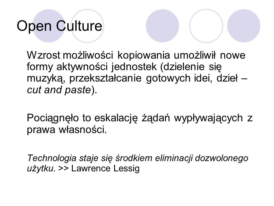 Open Culture Wzrost możliwości kopiowania umożliwił nowe formy aktywności jednostek (dzielenie się muzyką, przekształcanie gotowych idei, dzieł – cut