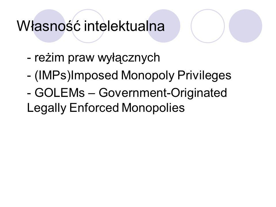 Własność intelektualna - reżim praw wyłącznych - (IMPs)Imposed Monopoly Privileges - GOLEMs – Government-Originated Legally Enforced Monopolies