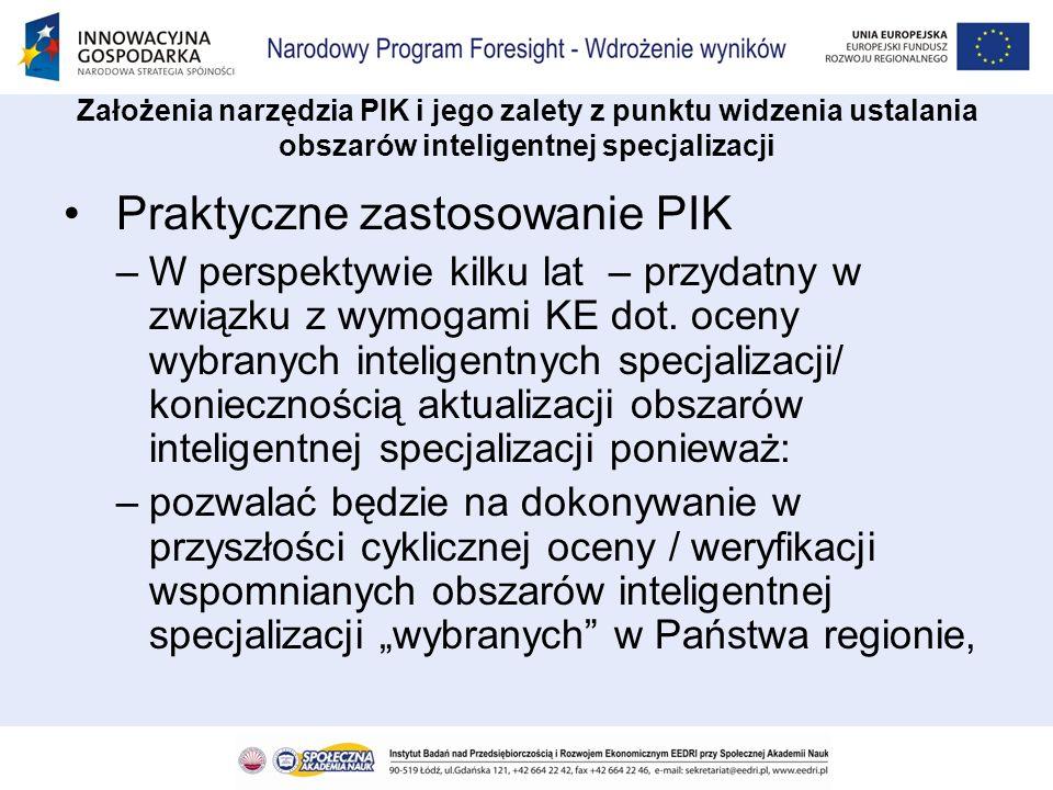 Praktyczne zastosowanie PIK –W perspektywie kilku lat – przydatny w związku z wymogami KE dot. oceny wybranych inteligentnych specjalizacji/ konieczno