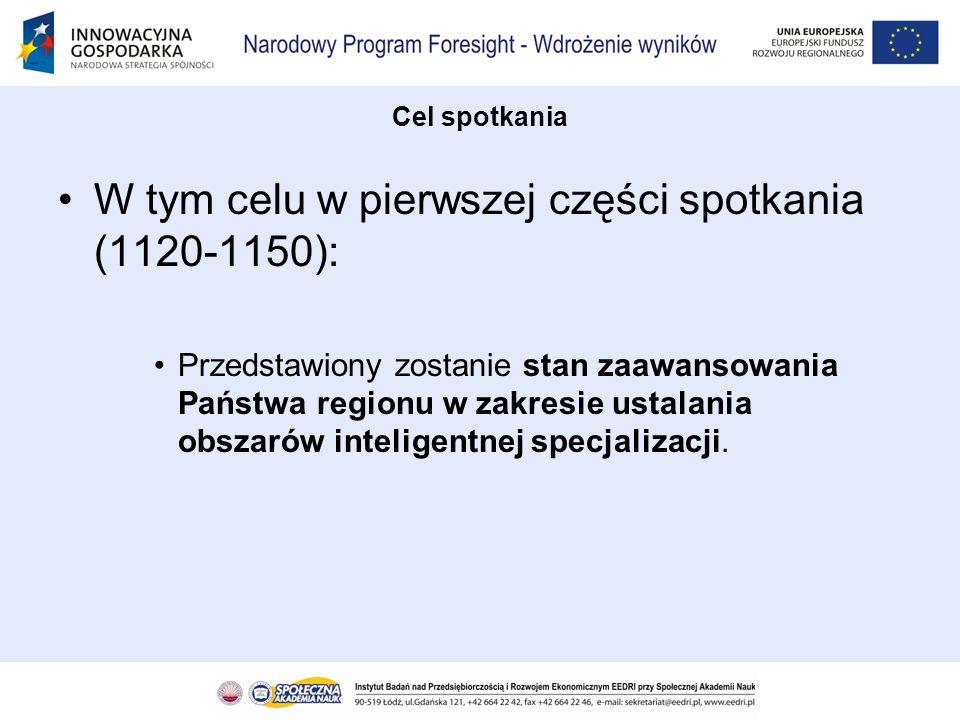 W tym celu w pierwszej części spotkania (1120-1150): Przedstawiony zostanie stan zaawansowania Państwa regionu w zakresie ustalania obszarów inteligen