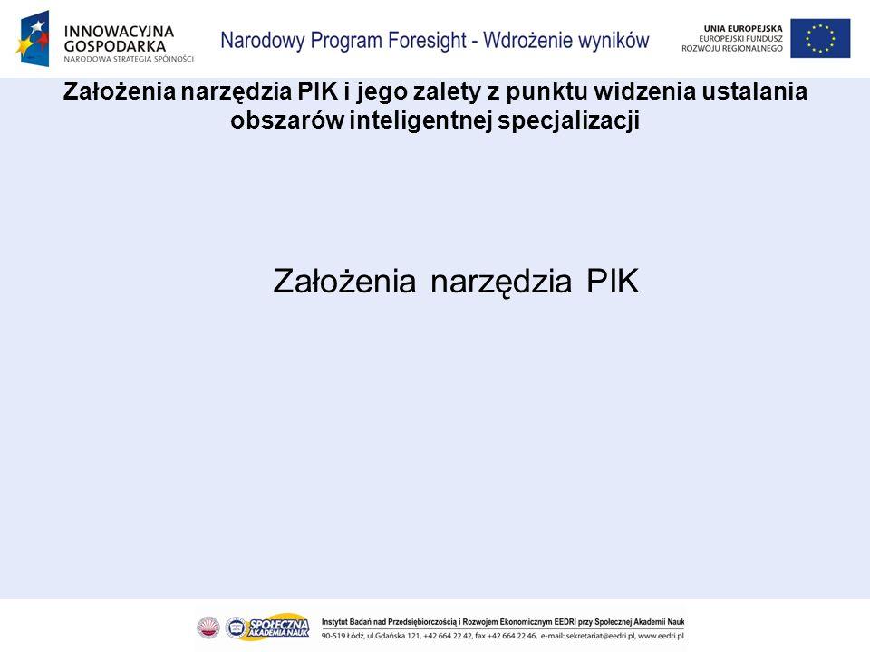 –Narzędzie informatyczne, które przewiduje się do udostępnienia posiadać będzie postać internetowego portalu pod nazwą Portal Informacyjno – Komunikacyjny (PIK) Założenia narzędzia PIK i jego zalety z punktu widzenia ustalania obszarów inteligentnej specjalizacji