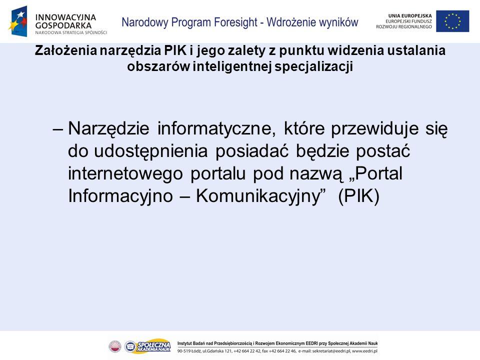 –Przesłanką przygotowywania narzędzia PIK jest wynik dokonanego przeglądu istniejących portali –Stwierdzono, że choć obecnie możemy wskazać wiele portali informacyjnych dotyczących innowacji, i gromadzą one pewne dane, to jednak nie umożliwiają użytkownikom skorzystania z funkcji analiz, które były by dla niego interesujące Założenia narzędzia PIK i jego zalety z punktu widzenia ustalania obszarów inteligentnej specjalizacji