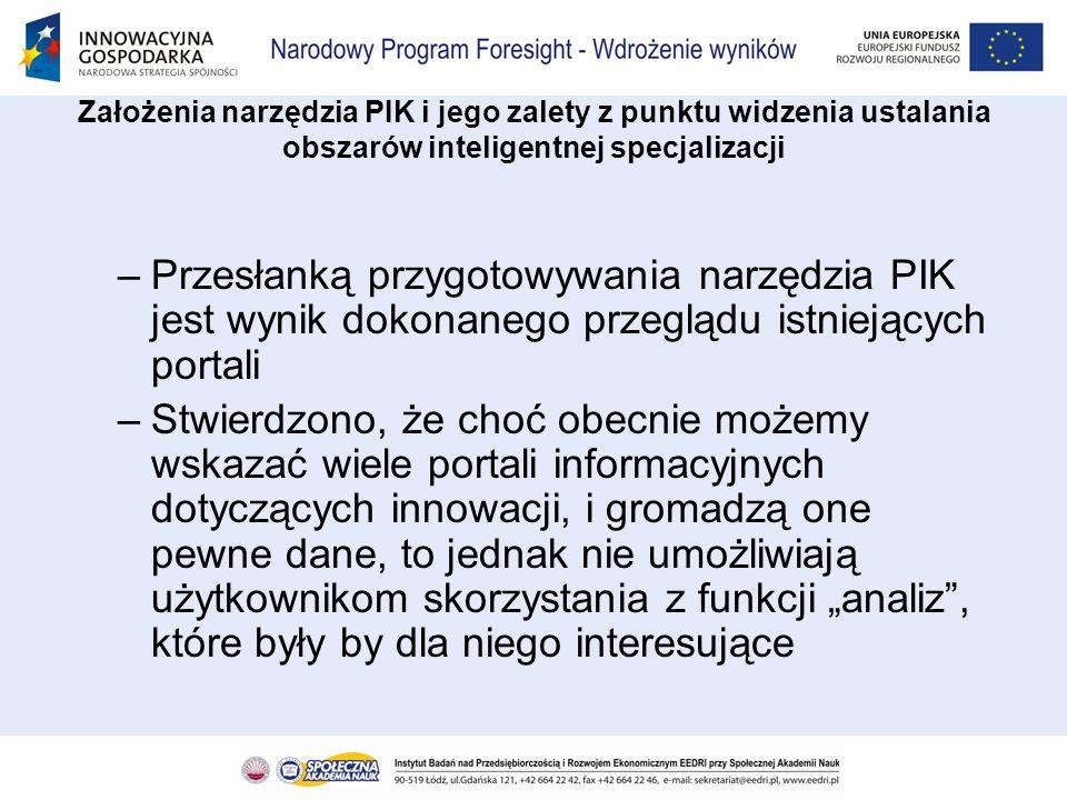 –Przesłanką przygotowywania narzędzia PIK jest wynik dokonanego przeglądu istniejących portali –Stwierdzono, że choć obecnie możemy wskazać wiele port