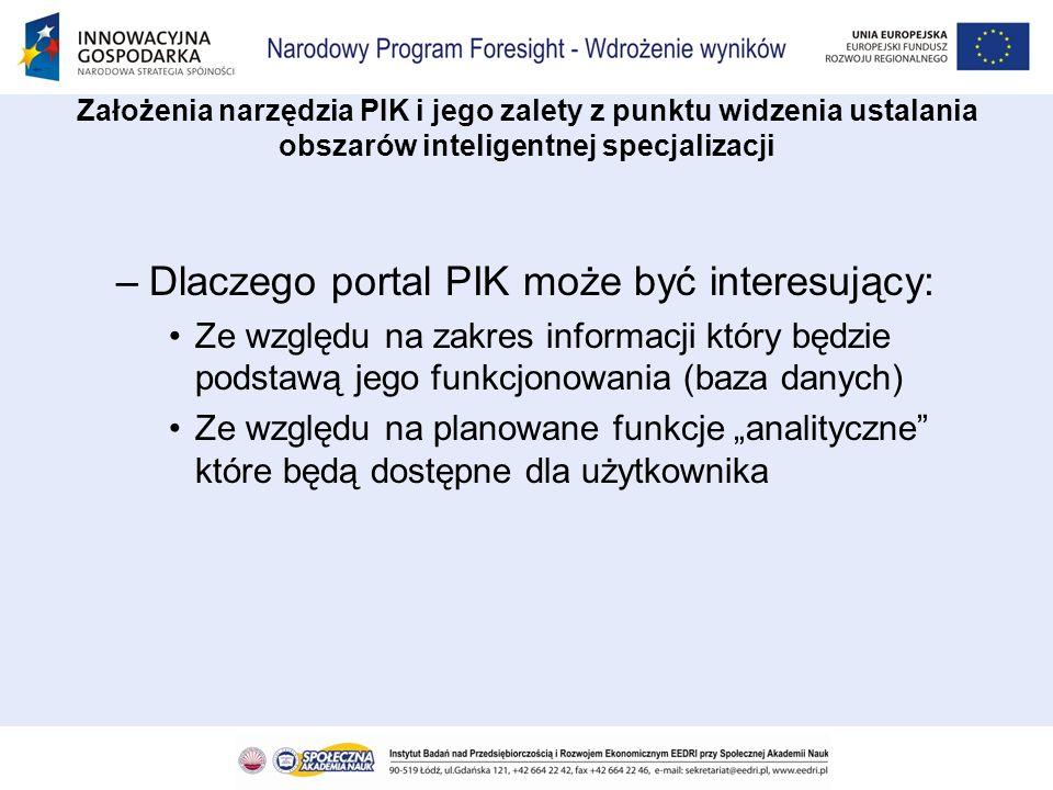 –Dlaczego portal PIK może być interesujący: Ze względu na zakres informacji który będzie podstawą jego funkcjonowania (baza danych) Ze względu na plan