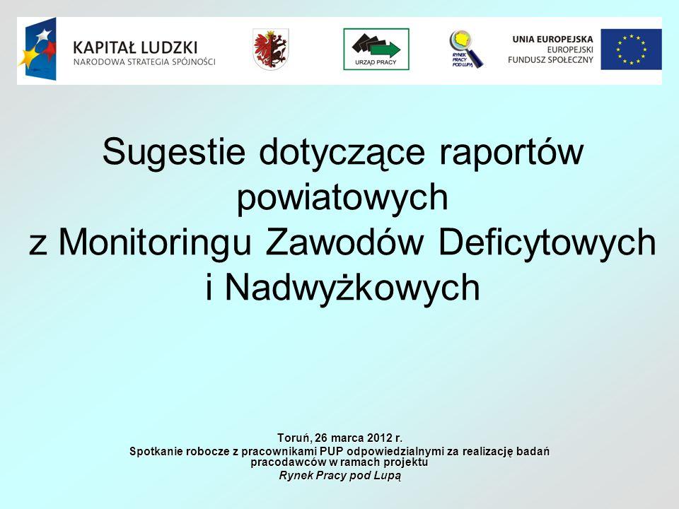 Sugestie dotyczące raportów powiatowych z Monitoringu Zawodów Deficytowych i Nadwyżkowych Toruń, 26 marca 2012 r. Spotkanie robocze z pracownikami PUP