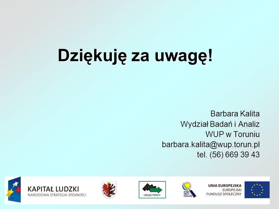Dziękuję za uwagę! Barbara Kalita Wydział Badań i Analiz WUP w Toruniu barbara.kalita@wup.torun.pl tel. (56) 669 39 43
