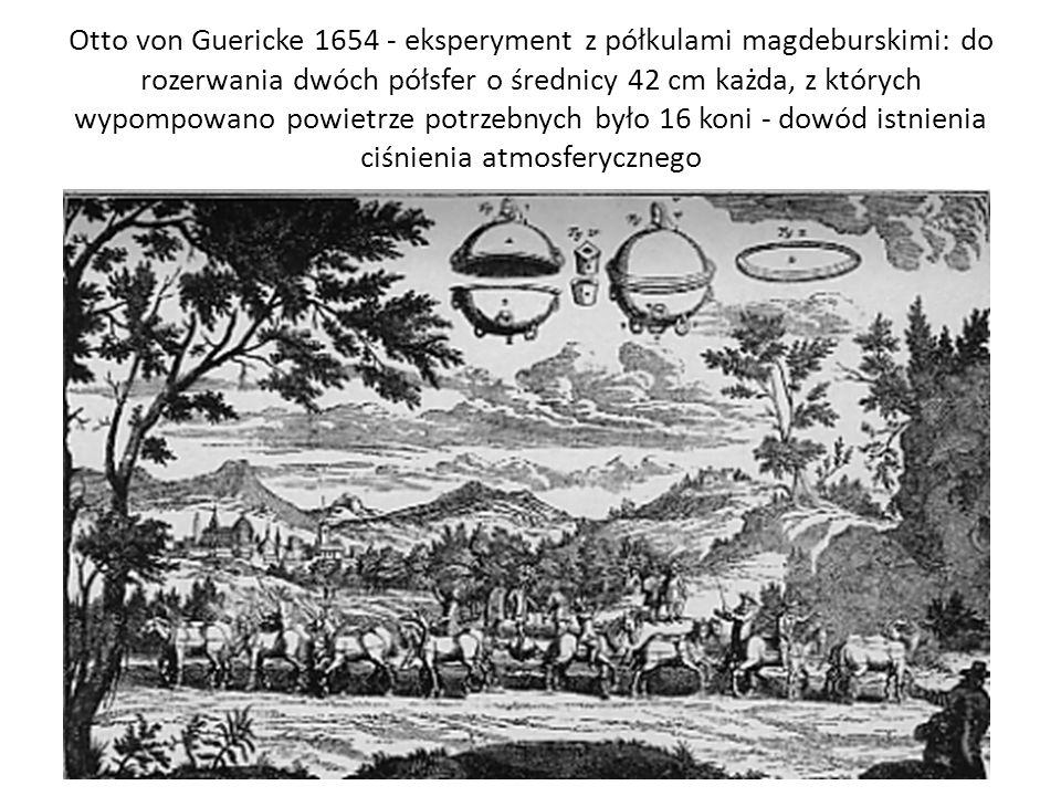 Otto von Guericke 1654 - eksperyment z półkulami magdeburskimi: do rozerwania dwóch półsfer o średnicy 42 cm każda, z których wypompowano powietrze po