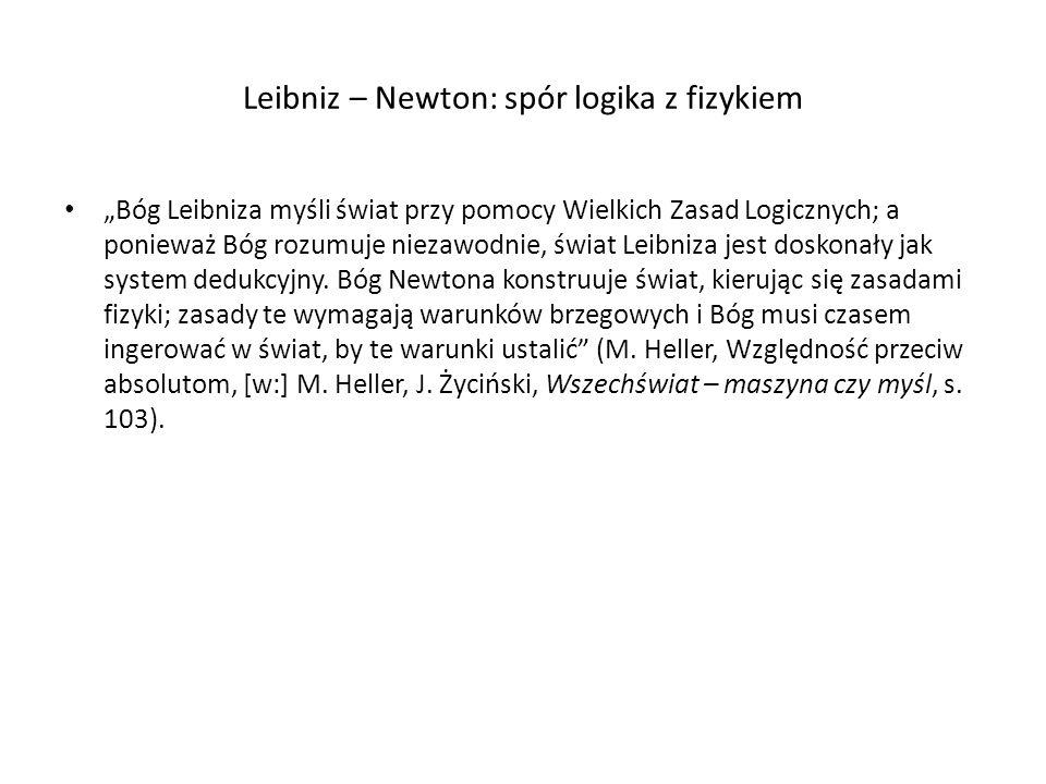 Leibniz – Newton: spór logika z fizykiem Bóg Leibniza myśli świat przy pomocy Wielkich Zasad Logicznych; a ponieważ Bóg rozumuje niezawodnie, świat Le
