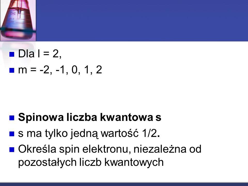 Dla l = 2, m = -2, -1, 0, 1, 2 Spinowa liczba kwantowa s s ma tylko jedną wartość 1/2. Określa spin elektronu, niezależna od pozostałych liczb kwantow