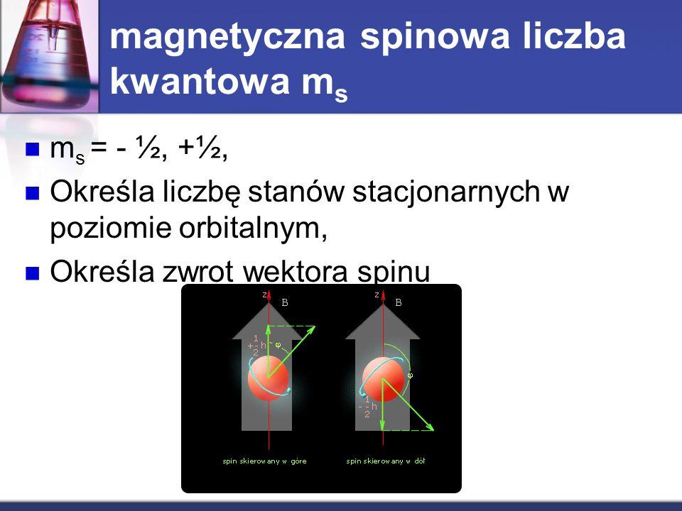 magnetyczna spinowa liczba kwantowa m s m s = - ½, +½, Określa liczbę stanów stacjonarnych w poziomie orbitalnym, Określa zwrot wektora spinu