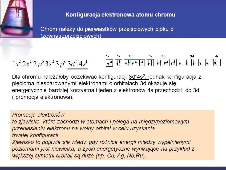 Konfiguracja elektronowa atomu chromu Dla chromu należałoby oczekiwać konfiguracji 3d 4 4s 2, jednak konfiguracja z pięcioma niesparowanymi elektronam