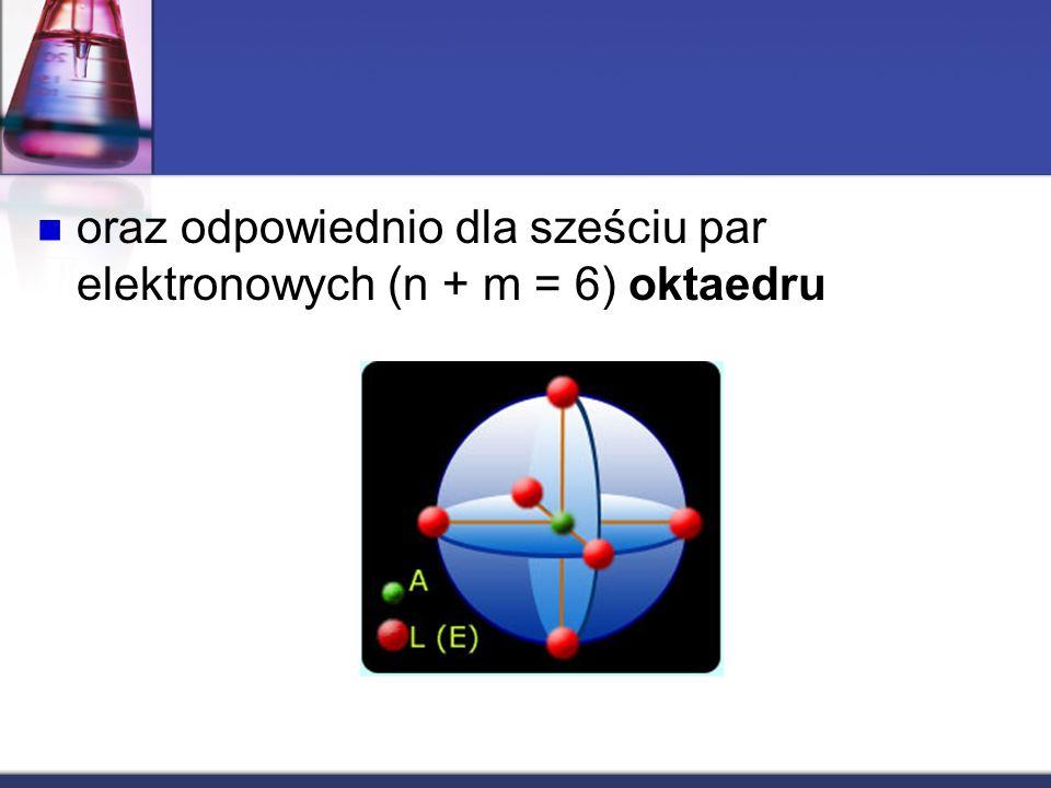 oraz odpowiednio dla sześciu par elektronowych (n + m = 6) oktaedru