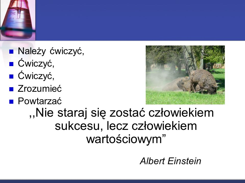 Należy ćwiczyć, Ćwiczyć, Zrozumieć Powtarzać,,Nie staraj się zostać człowiekiem sukcesu, lecz człowiekiem wartościowym Albert Einstein