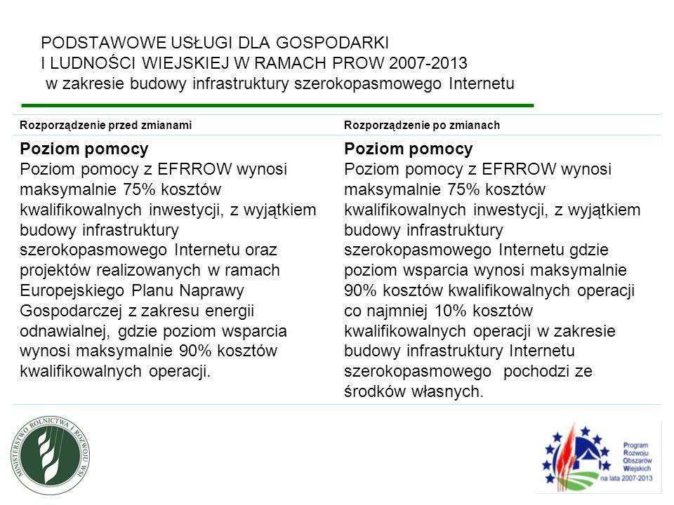 PODSTAWOWE USŁUGI DLA GOSPODARKI I LUDNOŚCI WIEJSKIEJ W RAMACH PROW 2007-2013 w zakresie budowy infrastruktury szerokopasmowego Internetu Zgonie z wytycznymi Komisji Europejskiej, w ramach działania za koszty kwalifikowalne uznaje się roboty budowlane, urządzenia techniczne i elementy bezpośrednio związane z infrastrukturą szerokopasmowego Internetu.