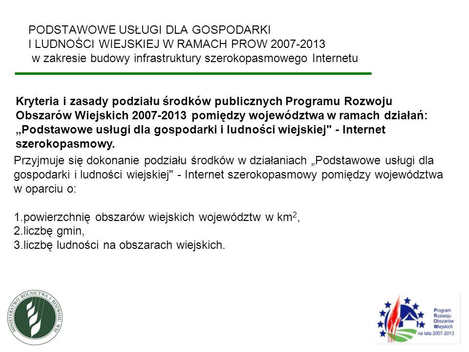 PODSTAWOWE USŁUGI DLA GOSPODARKI I LUDNOŚCI WIEJSKIEJ W RAMACH PROW 2007-2013 w zakresie budowy infrastruktury szerokopasmowego Internetu Podział środków na województwa Lp.