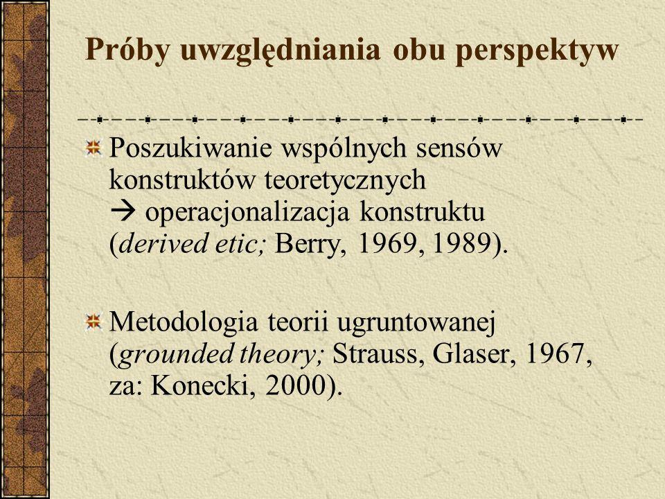 Próby uwzględniania obu perspektyw Poszukiwanie wspólnych sensów konstruktów teoretycznych operacjonalizacja konstruktu (derived etic; Berry, 1969, 19