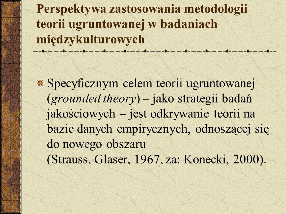 Perspektywa zastosowania metodologii teorii ugruntowanej w badaniach międzykulturowych Specyficznym celem teorii ugruntowanej (grounded theory) – jako