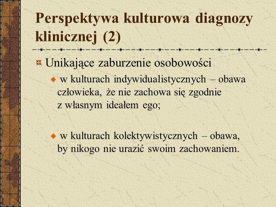 Perspektywa kulturowa diagnozy klinicznej (2) Unikające zaburzenie osobowości w kulturach indywidualistycznych – obawa człowieka, że nie zachowa się z