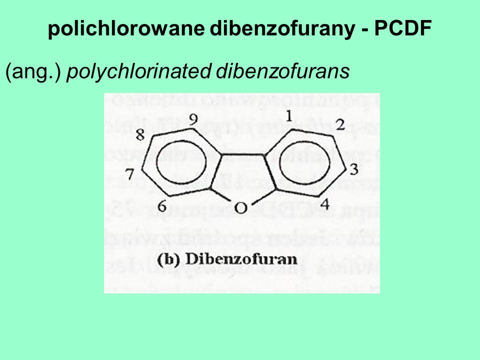 polichlorowane dibenzofurany - PCDF (ang.) polychlorinated dibenzofurans