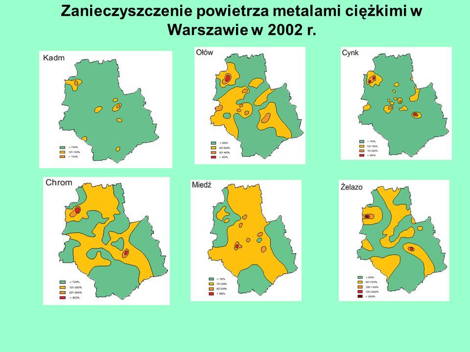 Zanieczyszczenie powietrza metalami ciężkimi w Warszawie w 2002 r.