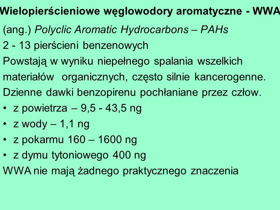 Wielopierścieniowe węglowodory aromatyczne - WWA (ang.) Polyclic Aromatic Hydrocarbons – PAHs 2 - 13 pierścieni benzenowych Powstają w wyniku niepełne