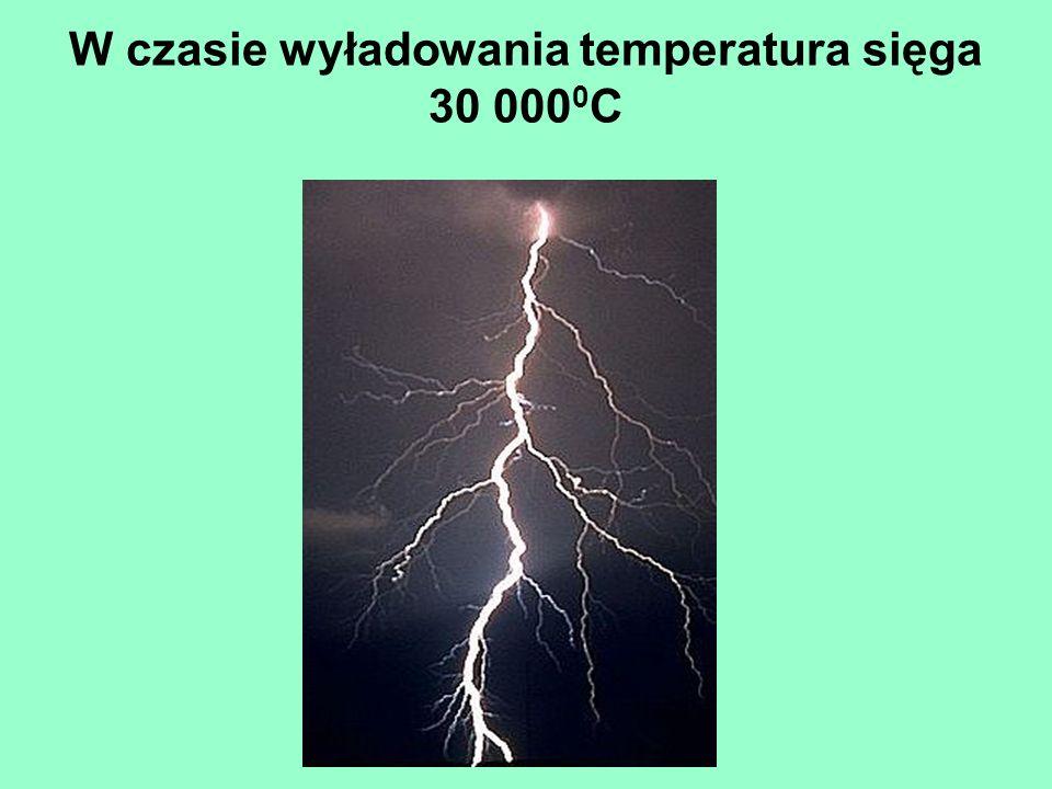 W czasie wyładowania temperatura sięga 30 000 0 C