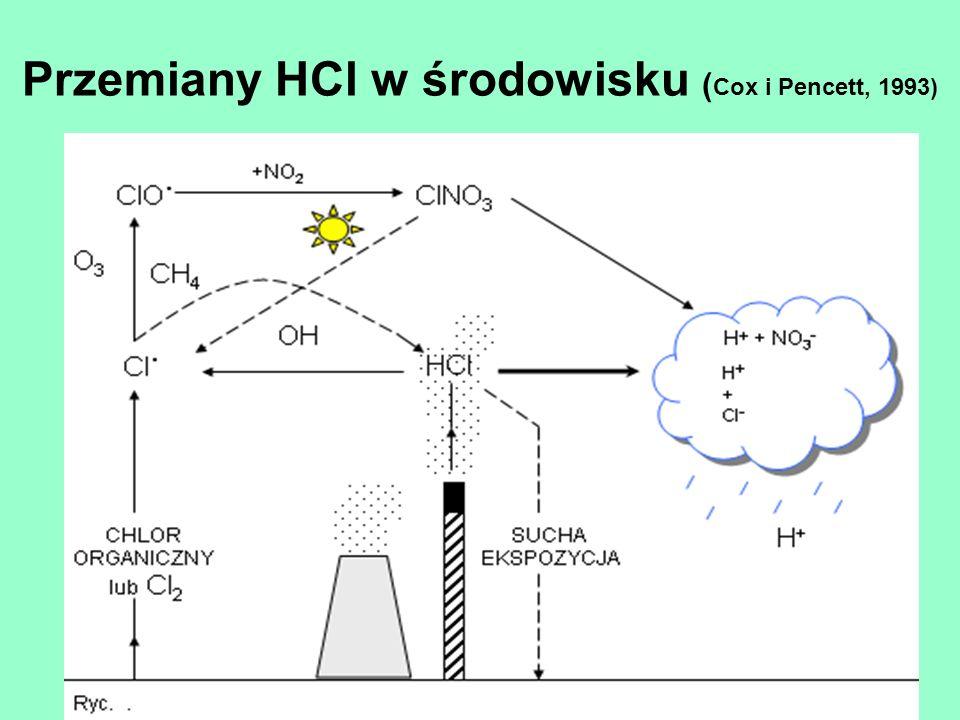 Przemiany HCl w środowisku ( Cox i Pencett, 1993)