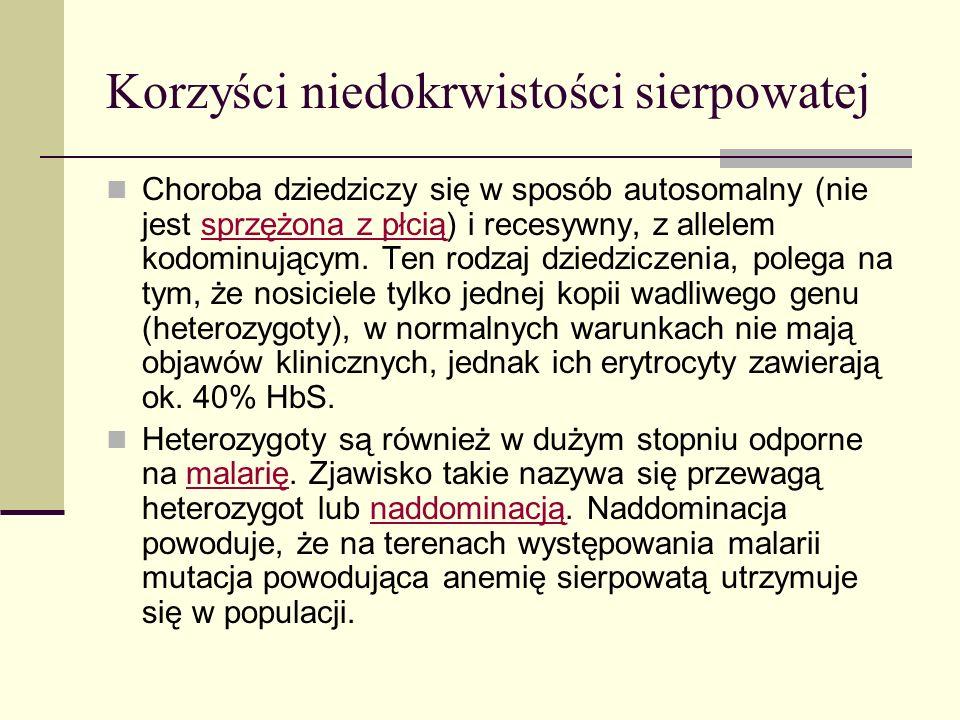 Korzyści niedokrwistości sierpowatej Choroba dziedziczy się w sposób autosomalny (nie jest sprzężona z płcią) i recesywny, z allelem kodominującym. Te