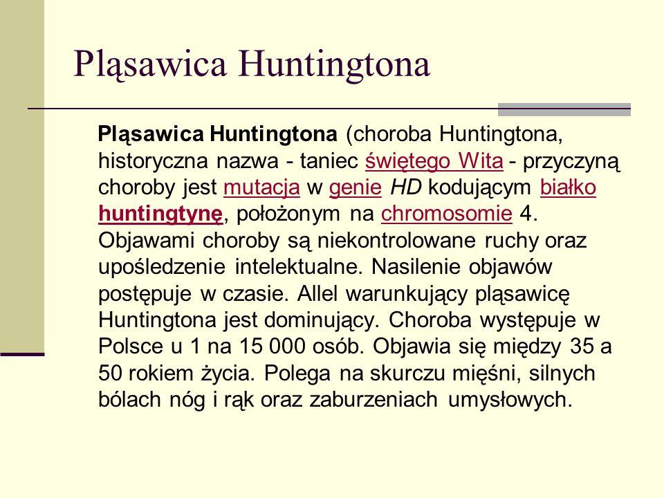 Pląsawica Huntingtona Pląsawica Huntingtona (choroba Huntingtona, historyczna nazwa - taniec świętego Wita - przyczyną choroby jest mutacja w genie HD