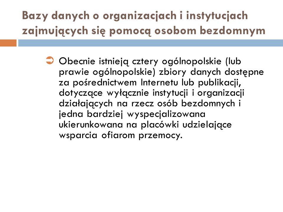 Bazy danych o organizacjach i instytucjach zajmujących się pomocą osobom bezdomnym Obecnie istnieją cztery ogólnopolskie (lub prawie ogólnopolskie) zb