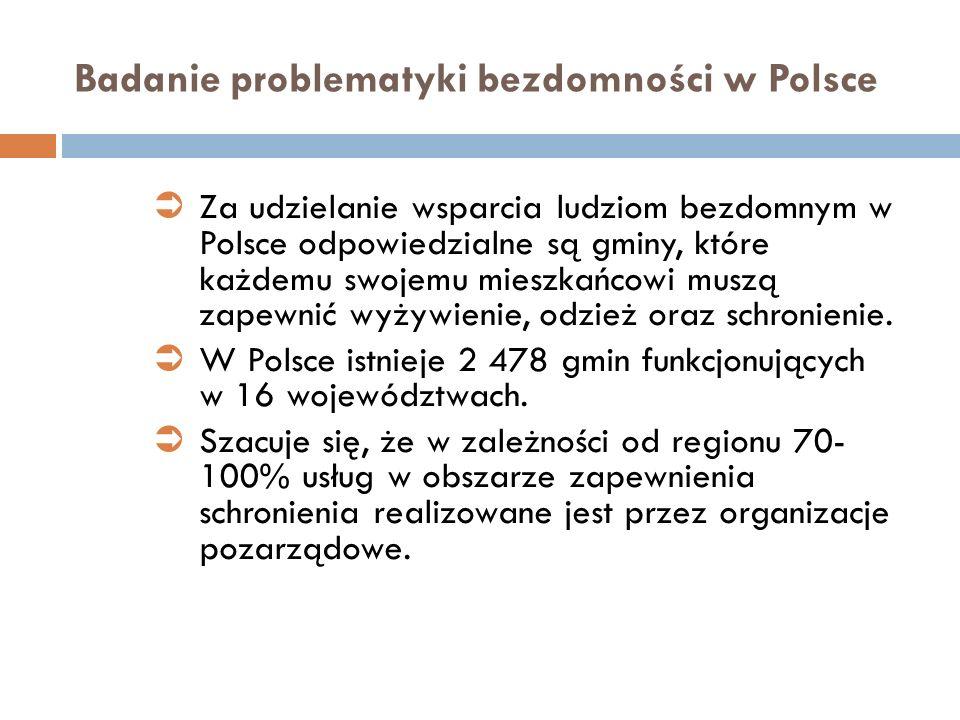 Badanie problematyki bezdomności w Polsce Za udzielanie wsparcia ludziom bezdomnym w Polsce odpowiedzialne są gminy, które każdemu swojemu mieszkańcow