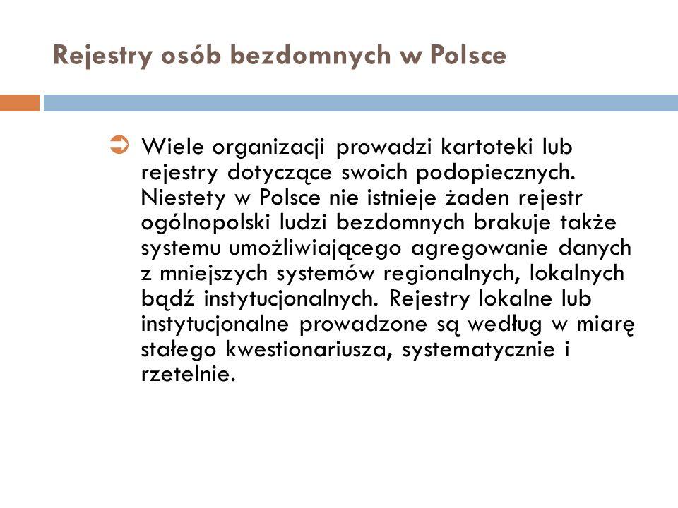 Rejestry osób bezdomnych w Polsce Wiele organizacji prowadzi kartoteki lub rejestry dotyczące swoich podopiecznych. Niestety w Polsce nie istnieje żad