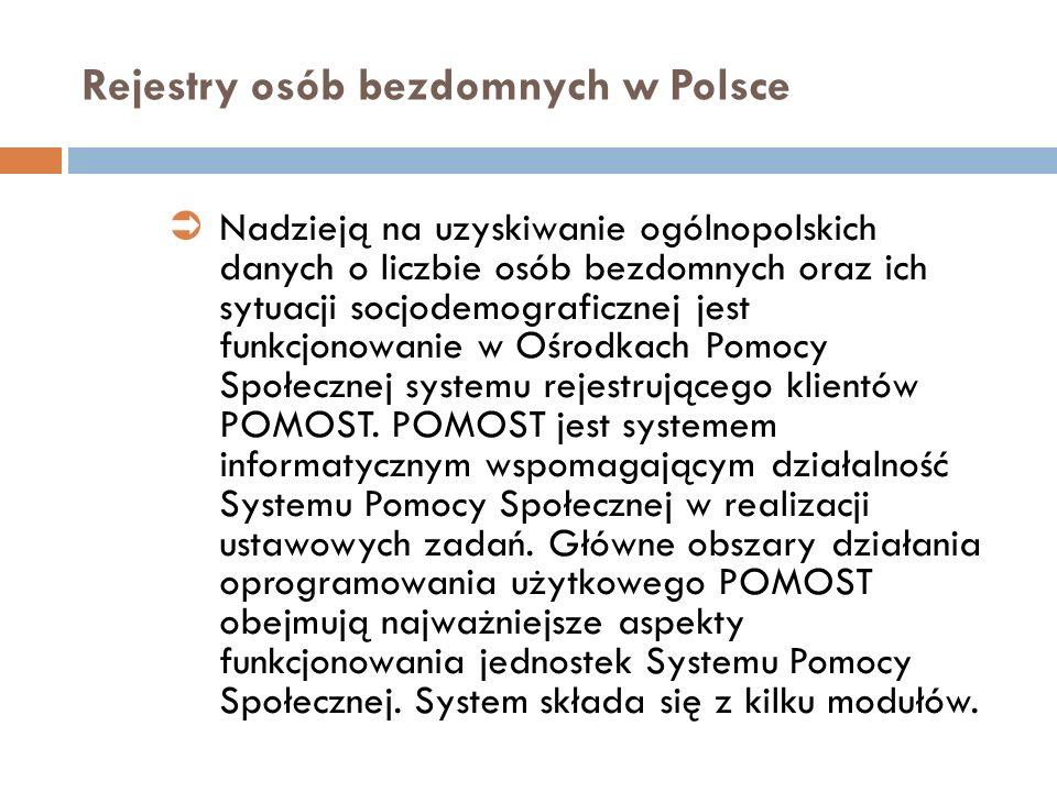 Rejestry osób bezdomnych w Polsce Nadzieją na uzyskiwanie ogólnopolskich danych o liczbie osób bezdomnych oraz ich sytuacji socjodemograficznej jest f
