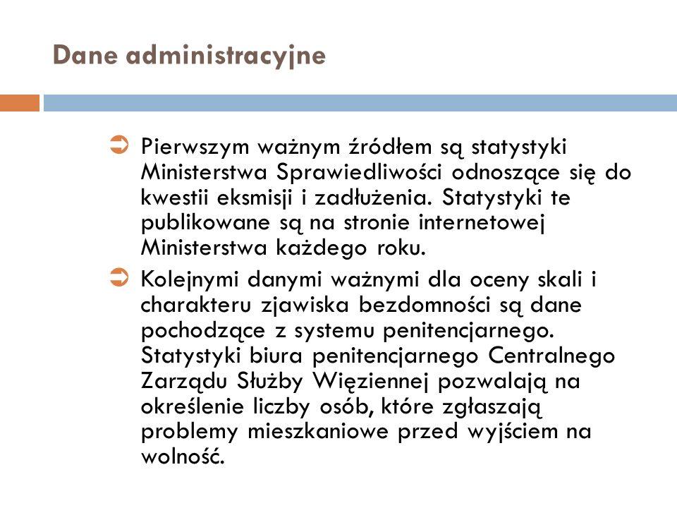 Dane administracyjne Pierwszym ważnym źródłem są statystyki Ministerstwa Sprawiedliwości odnoszące się do kwestii eksmisji i zadłużenia. Statystyki te