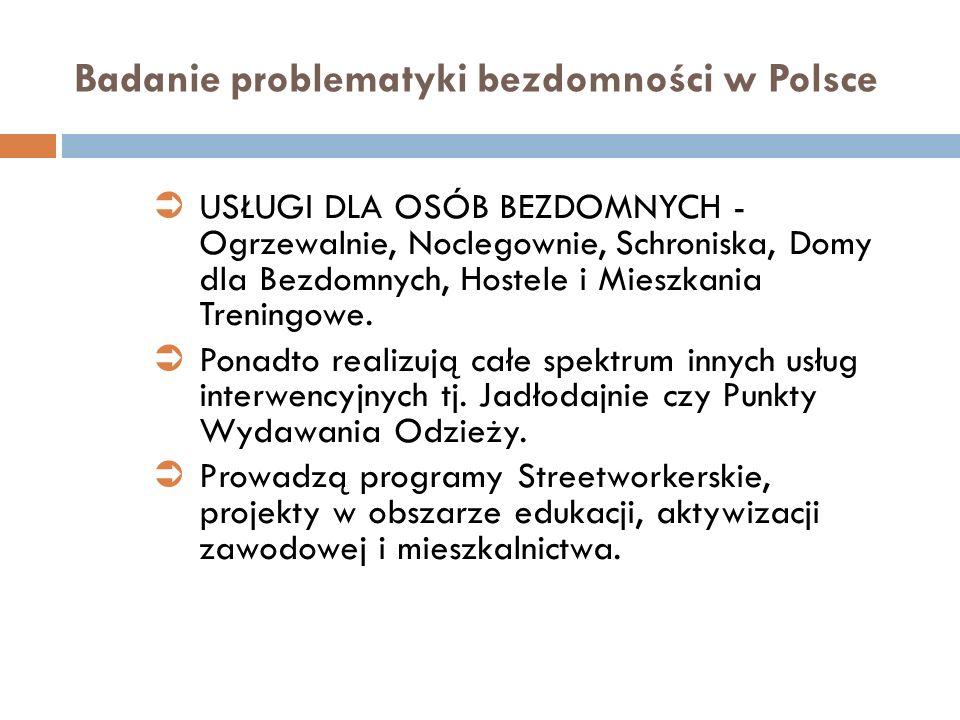Badanie problematyki bezdomności w Polsce USŁUGI DLA OSÓB BEZDOMNYCH - Ogrzewalnie, Noclegownie, Schroniska, Domy dla Bezdomnych, Hostele i Mieszkania