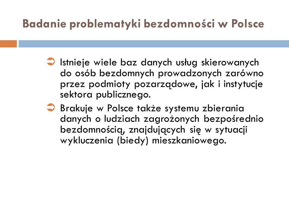 Badanie problematyki bezdomności w Polsce Istnieje wiele baz danych usług skierowanych do osób bezdomnych prowadzonych zarówno przez podmioty pozarząd