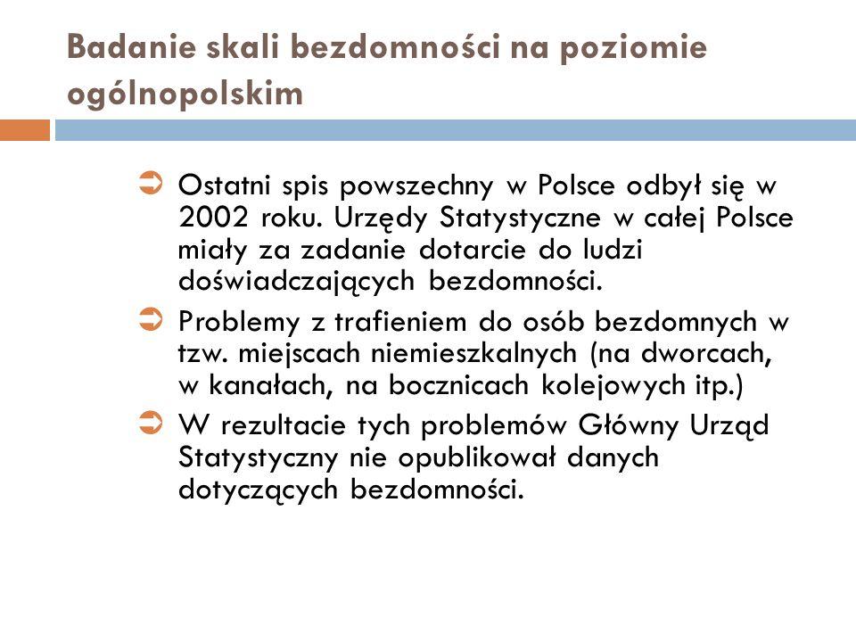 Badanie skali bezdomności na poziomie ogólnopolskim Ostatni spis powszechny w Polsce odbył się w 2002 roku. Urzędy Statystyczne w całej Polsce miały z