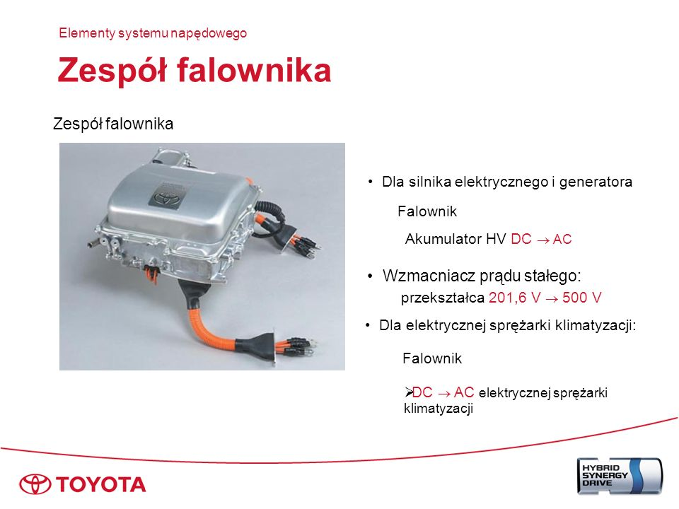Zespół falownika Złącza do MG1 i MG2 do MG1 do MG2 Elementy systemu napędowego