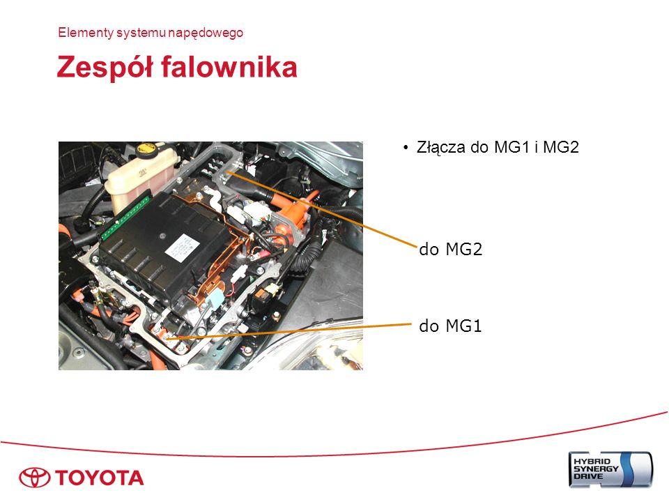 Zespół falownika Schemat układu Akumulator HV Zespół falownika Przetwornik DC/DC Falownik klimatyzacji Przetwornik wzmacniający IPM (IGBT) Dławik Przetwornik wzmacniający IPM (IGBT) Dławik MG1 MG2 Falownik IPM (IGBT) Falownik IPM (IGBT) Elementy systemu napędowego