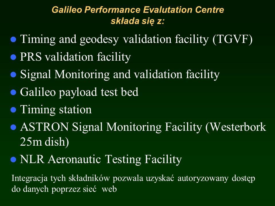 Galileo Performance Evalutation Centre at ESTEC Ma na celu wspieranie kontroli wydajności systemu wraz z jego odbiornikami oraz ciągłego monitorowania