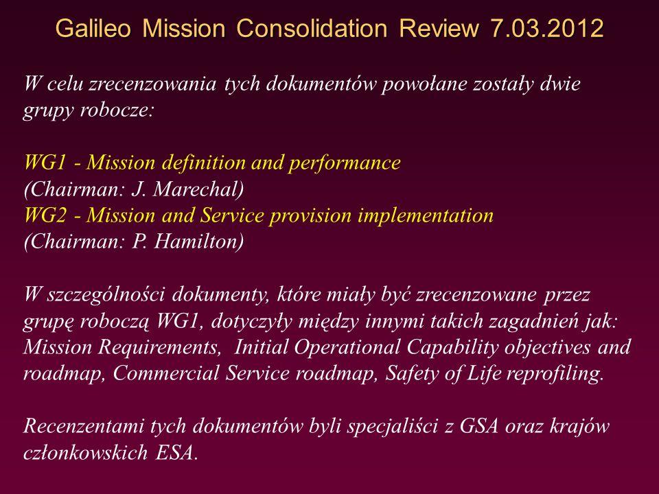 Galileo Mission Consolidation Review 7.03.2012 Pierwszy dokument przedstawiający wymagania dla misji Galileo do fazy FOC sporządzony został w 2008 rok