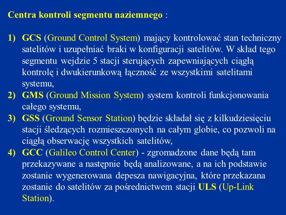 Centra Kontroli System Galileo będzie nadzorowany przez Centra Kontroli Galileo, które ze względu na warunek ciągłości i niezawodności działania będą