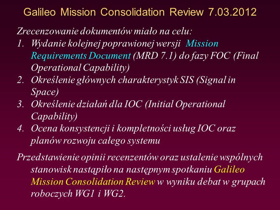 Galileo Mission Consolidation Review 7.03.2012 W celu zrecenzowania tych dokumentów powołane zostały dwie grupy robocze: WG1 - Mission definition and