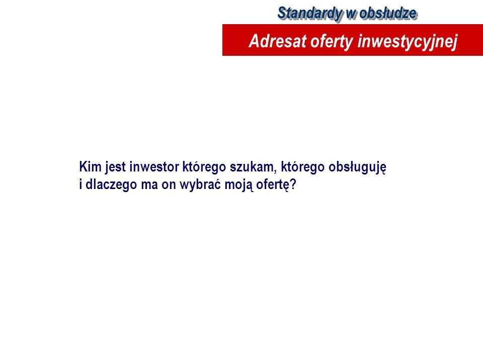 Kim jest inwestor którego szukam, którego obsługuję i dlaczego ma on wybrać moją ofertę? Standardy w obsłudze Adresat oferty inwestycyjnej