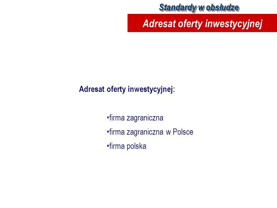 Adresat oferty inwestycyjnej: firma zagraniczna firma zagraniczna w Polsce firma polska Standardy w obsłudze Adresat oferty inwestycyjnej