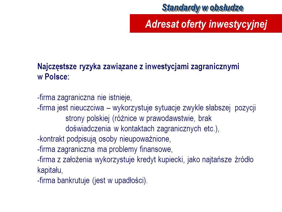 Najczęstsze ryzyka zawiązane z inwestycjami zagranicznymi w Polsce: -firma zagraniczna nie istnieje, -firma jest nieuczciwa – wykorzystuje sytuacje zw