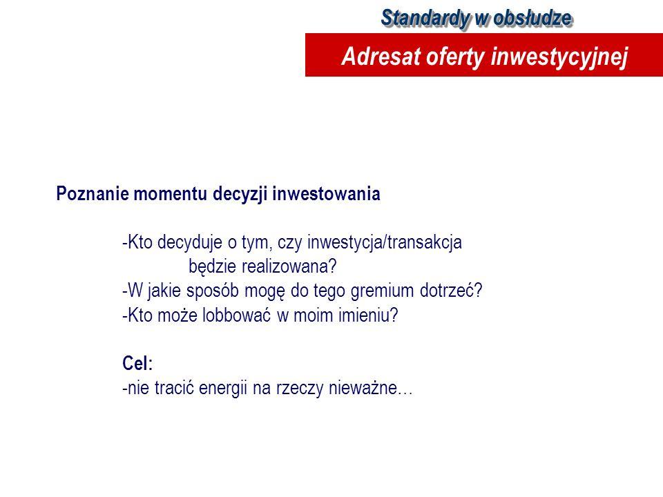 Poznanie momentu decyzji inwestowania -Kto decyduje o tym, czy inwestycja/transakcja będzie realizowana? -W jakie sposób mogę do tego gremium dotrzeć?