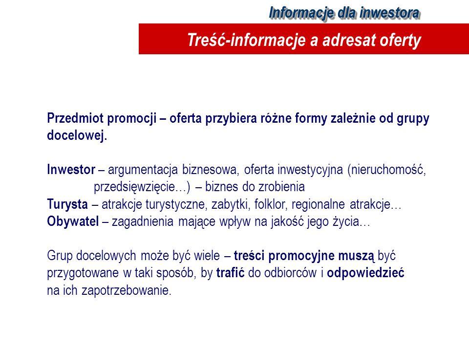 Przedmiot promocji – oferta przybiera różne formy zależnie od grupy docelowej. Inwestor – argumentacja biznesowa, oferta inwestycyjna (nieruchomość, p